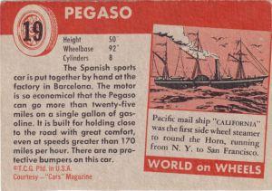 1954 Topps World On Wheels Pegaso back