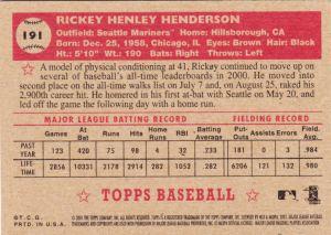 2001 Heritage Rickey Henderson back