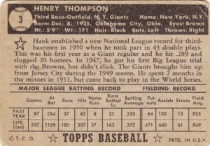 1952 Topps Hank Thompson back