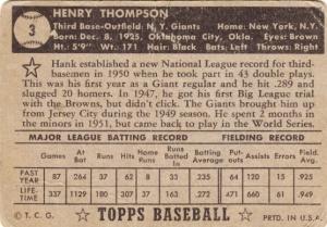 1952 Topps Hank Thompson back