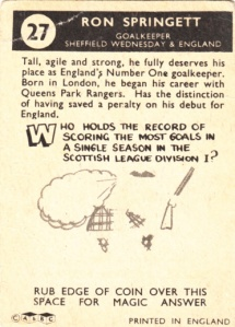 1960 A&BC Ron Springett back