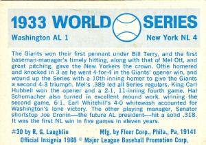 1970 Fleer World Series 30 Back