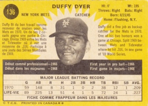 1971 OPC Duffy Dyer back
