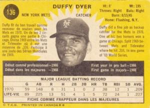 1971 OPC Duffy Dyer back