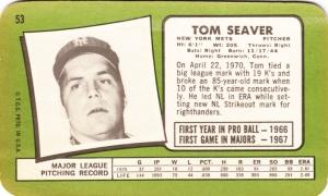1971 Topps Super Tom Seaver back
