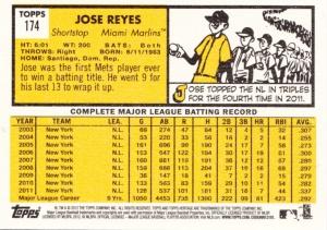 2012 Heritage Jose Reyes back