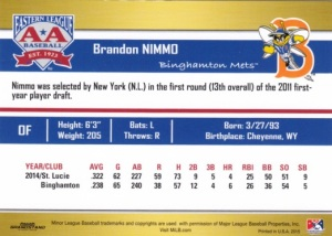 2015 Grandstand EL Top Prospects Brandon Nimmo back