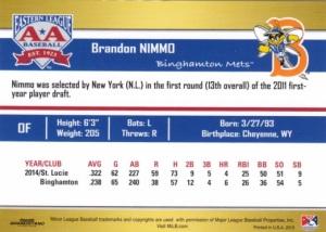 2015 Grandstand EL Top Prospects Brandon Nimmo back