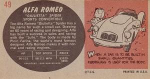 1961 Topps Sports Cars Alfa Romeo Giulietta Spider back