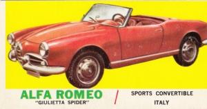1961 Topps Sports Cars Alfa Romeo Giulietta Spider