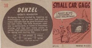 1961 Topps Sports Cars Denzel back