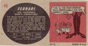 1961 Topps Sports Cars Ferrari 250 California back