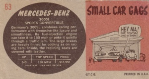 1961 Topps Sports Cars Mercedes-Benz 300SL back