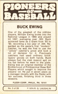 1975 Fleer Pioneers Of Baseball Buck Ewing back