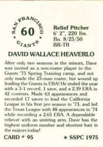 1976 SSPC #95 Dave Heaverlo back