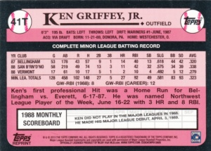 2015 Topps Factory Set 1989 Traded Griffey refractor back
