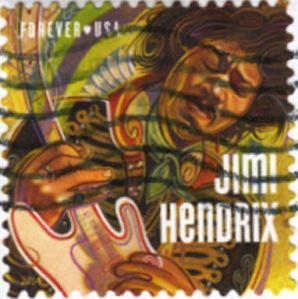 Jimi Hendrix stamp postmarked