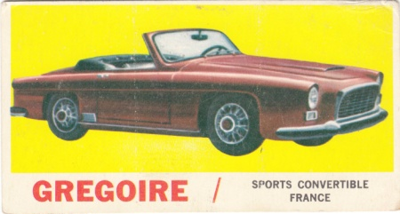 1961 Topps Sports Cars Gregoire