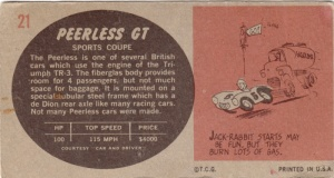 1961 Topps Sports Cars Peerless GT back