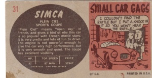 1961 Topps Sports Cars Simca back