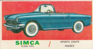 1961 Topps Sports Cars Simca Plein Ciel