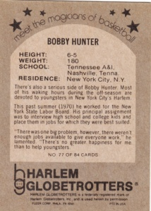 1972 Fleer Harlem Globetrotters Bobby Hunter back