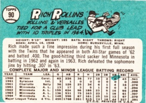 1965 Topps Rich Rollins back