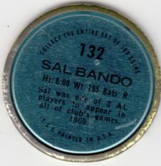 1971 Topps Coin Sal Bando back