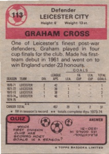 1974-75 Topps English Footballer Graham Cross back