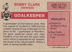 1976 Topps Scottish Footballers Bobby Clark back