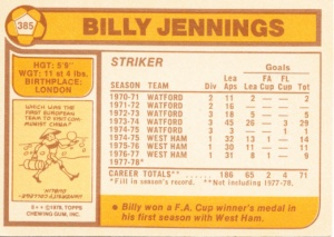 1978 Topps MLS English Footballer Billy Jennings back
