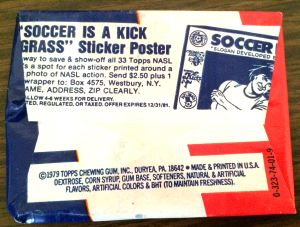 1979 Topps NASL Soccer Stickers wax pack back