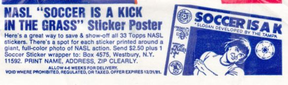 1979 Topps NASL Soccer Stickers Wrapper offer