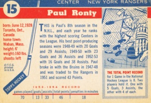 1954-55 Topps Hockey Paul Ronty back