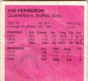 1975 McDonald's Quarter Back Joe Ferguson back