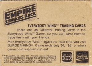 1980 Burger King Empire Strikes Back Pursued By The Empire back