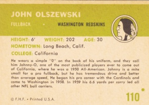 1961 Fleer Football John Olszewski back