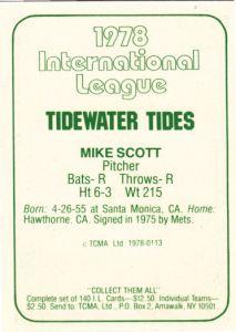 1978 TCMA Tidewater Tides Mike Scott back