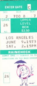 Mets ticket stub 6-9-73
