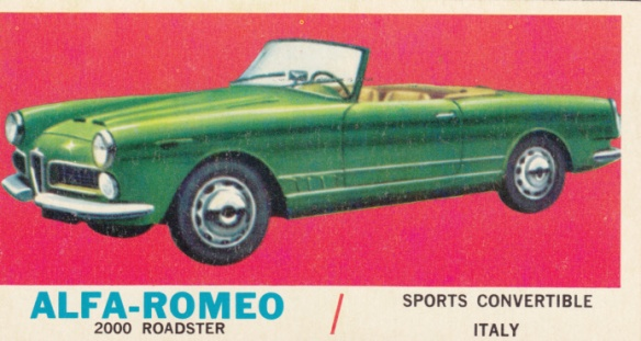 1961 Topps Sports Cars Alfa Romeo 2000 Roadster