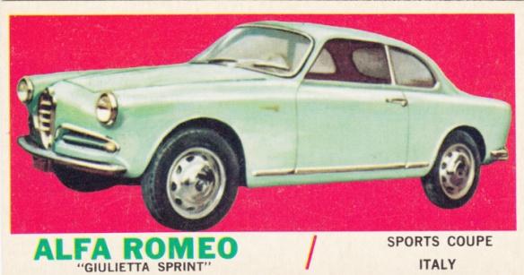 1961 Topps Sports Cars Alfa Romeo Giulietta Sprint