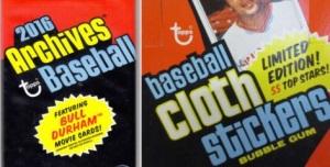 1977 2016 Topps Archives Cloth sticker comparison
