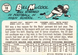 1965 Topps Bill McCool back
