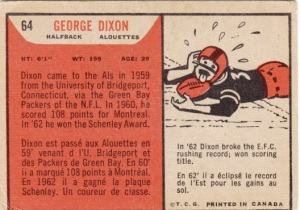 1965 Topps CFL George Dixon back