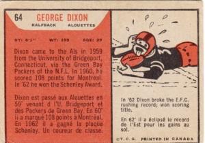 1965 Topps CFL George Dixon back