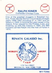 1977-84 Renata Galasso Glossy Greats Ralph Kiner back