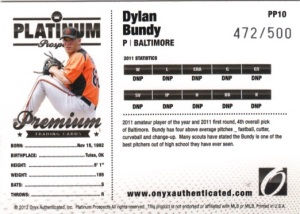2012 Onyx Platinum Prospects Dylan Bundy back