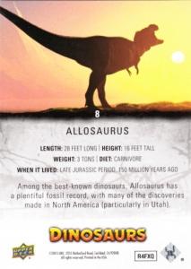 2015 Upper Deck Dinosaurs Allosaurus back