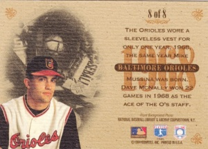 1994 Donruss Studio Heritage Collection Mike Mussina back
