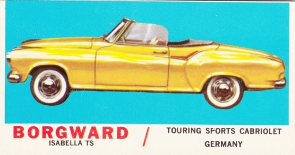 1961 Topps Sports Cars Borgward Isabella TS